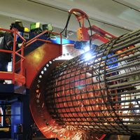 Cage production line for large diameter bored piles of up to 3m